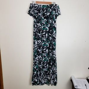 Gap Green And Black Strapless Maxi Dress